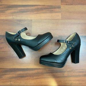 Luoika 10.5 platform black heels vintage inspired